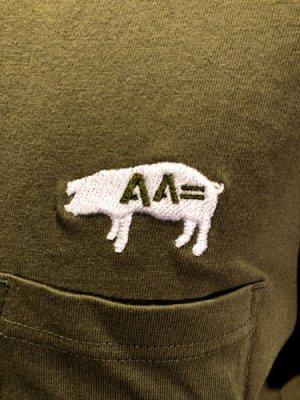 画像2: AA= PIG EMBROIDERY POCKET TEE (OL)